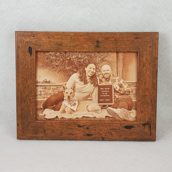 """Photograph Engraved in REAL LEATHER - 3rd Anniversary Gift - Wedding Photograph - Baby Photograph - Family Photograph - 8"""" x 10"""" FRAMED"""