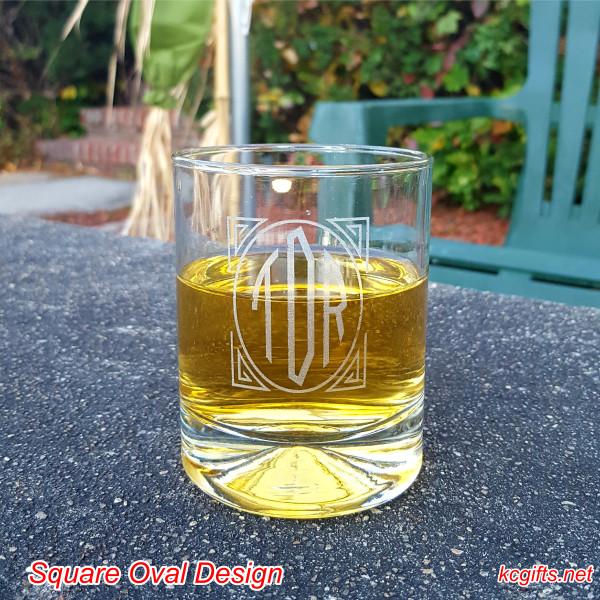 Square Oval Design Engraved Rocks Glass with your monogram. Whiskey Glass - Scotch Glass - Cocktail Glass - SET OF TWO