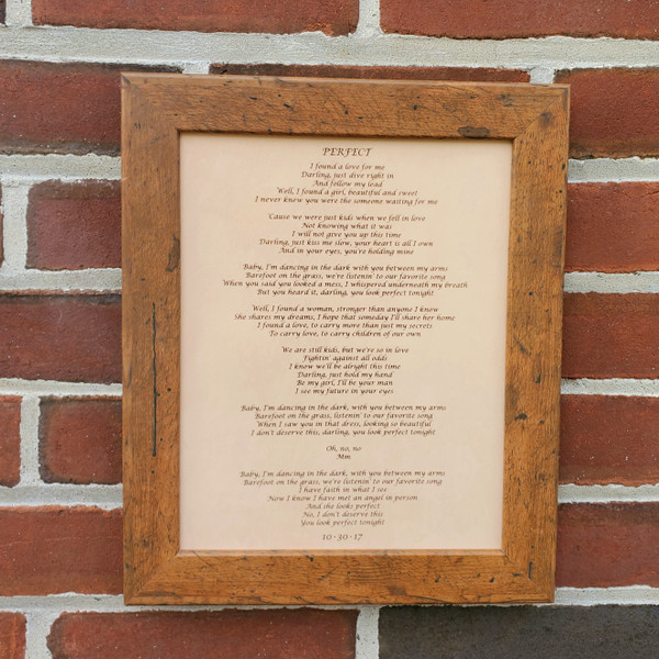 Wedding Song Lyrics Engraved in Leather - Third Anniversary Gift - 3rd Anniversary Gift - Wedding Gift - Leather Anniversary Gift