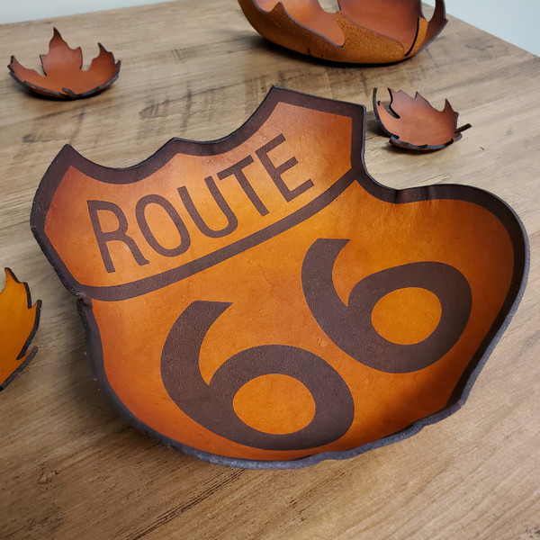 Leather Bowl - Hand crafted Route 66 Sign