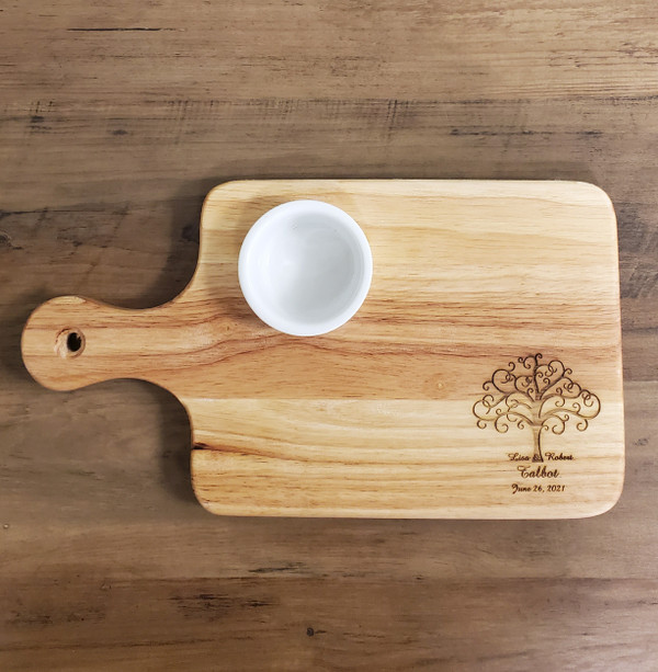 Cutting Board with Dip Cup, Charcuterie Board, Personalized, Housewarming Gift, Wedding Gift, Anniversary Gift, Realtor Closing Gift