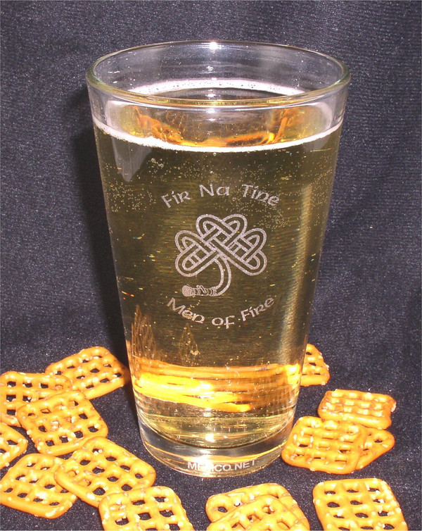 Set of TWO Engraved Pint Glass Set - Family Name - 19th Hole - Irish Fireman - Fireman Wedding - Irish Beer Glass - Pint Glass - Fireman Gift - Firemen Gift