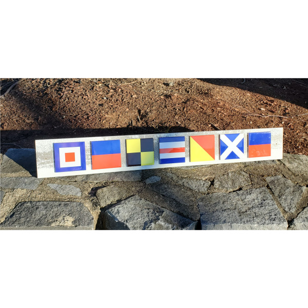 Nautical Flag Welcome Sign - Tile and Wood