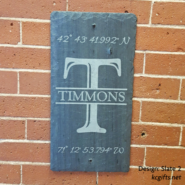 """Engraved Slate Sign - House Sign - GPS Sign - Family Name Sign - Wedding Gift, Housewarming Gift - Address Sign - Slate Sign - Engraved Stone - 8"""" x 16"""""""