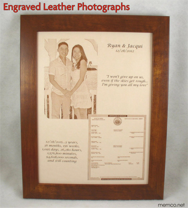 """Photos in Leather - 11"""" x 14"""" with TWO PHOTOS  or ONE Photo and Vows, 3rd Anniversary, Leather Anniversary, Third Anniversary Gift Leather"""