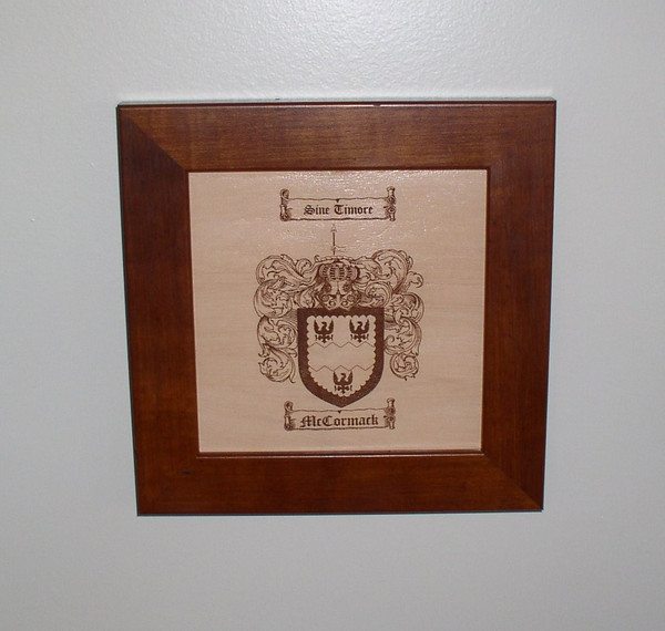 """Coat of Arms / Family Crest Engraved in Leather - 12"""" x 12"""""""