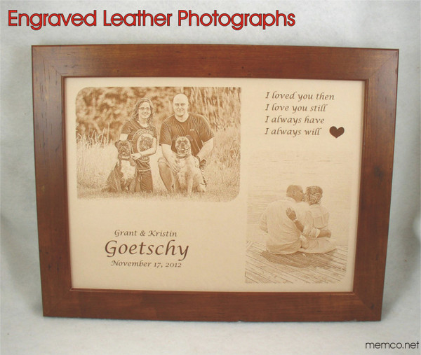 """Photos in Leather - 11"""" x 14"""" with TWO PHOTOS  or ONE Photo and Vows - 3rd Anniversary Gift Leather"""