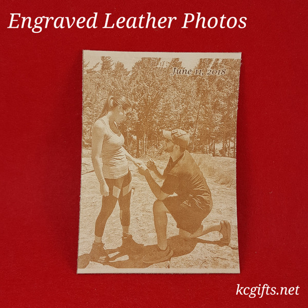 """Photograph Engraved in REAL LEATHER - 3rd Anniversary Gift - Wedding Photograph - Baby Photograph - Family Photograph - 4"""" x 6"""" UNFRAMED"""