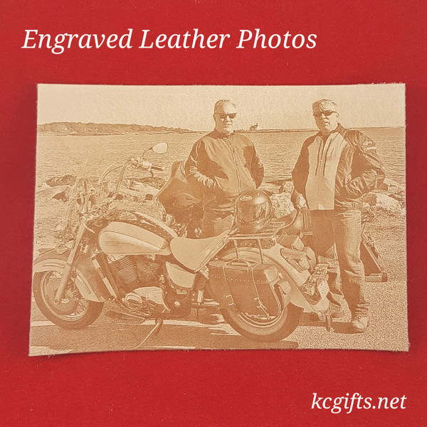 "Photograph Engraved in REAL LEATHER - 3rd Anniversary Gift - Wedding Photograph - Baby Photograph - Family Photograph - 4"" x 6"" UNFRAMED"
