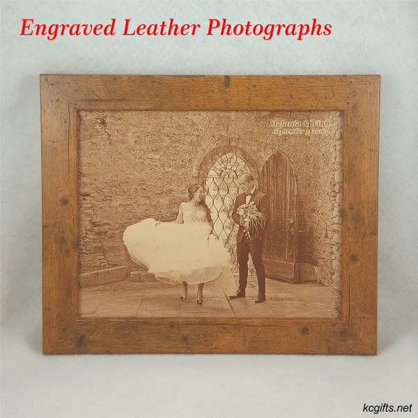 "Photograph Engraved in REAL LEATHER - 3rd Anniversary Gift - Wedding Photograph - Baby Photograph - Family Photograph - 5"" x 7"" UNFRAMED"