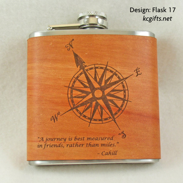 Wanderer's Flask - Hand made, hand dyed leather wrapped flask.