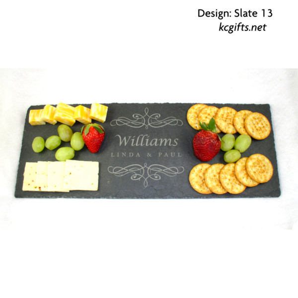 """8"""" x 16"""" Personalized Slate Cheese Board, Cheese Tray, Serving Tray, Wedding Gift, Anniversary Gift, Housewarming Gift,  Stone"""