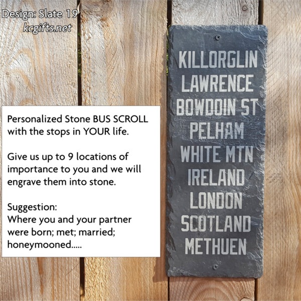 """8"""" x 16"""" Your Life's Journey Bus Scroll Engraved Slate Sign with the Stops in YOUR Life."""