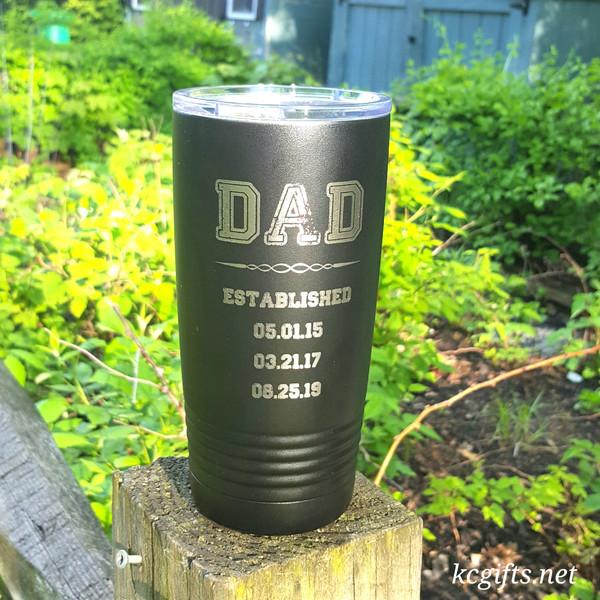 Polar Camel Insulated Mug - Dad Established Mug - Personalized Engraved Polar Camel YETI Clone  - for the GREATEST DAD EVER!