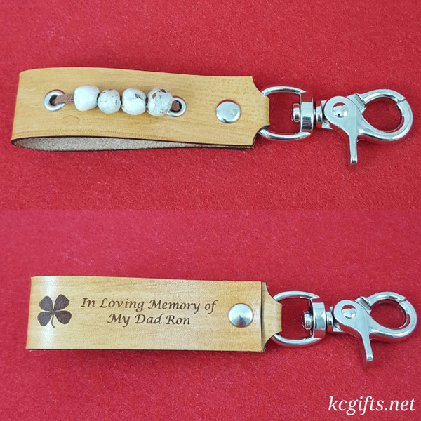 Memorial Flower Leather Key chain - Made from Your Memorial Flowers