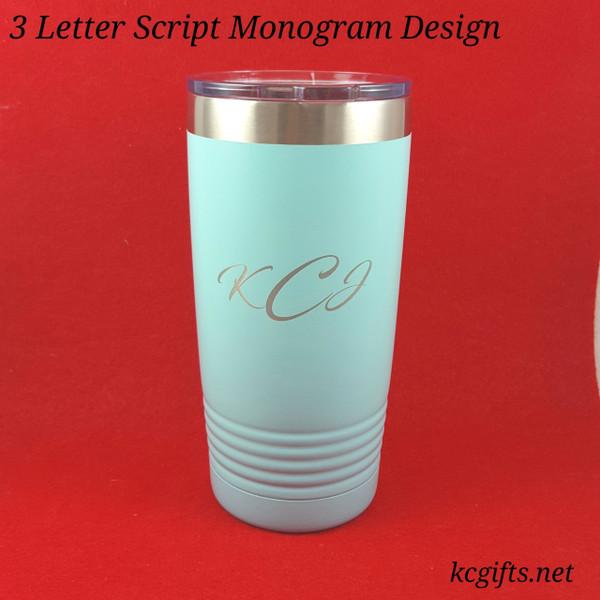 Polar Camel Insulated Mug - 3 Letter Monogram Script Design - Personalized Polar Camel YETI Clone
