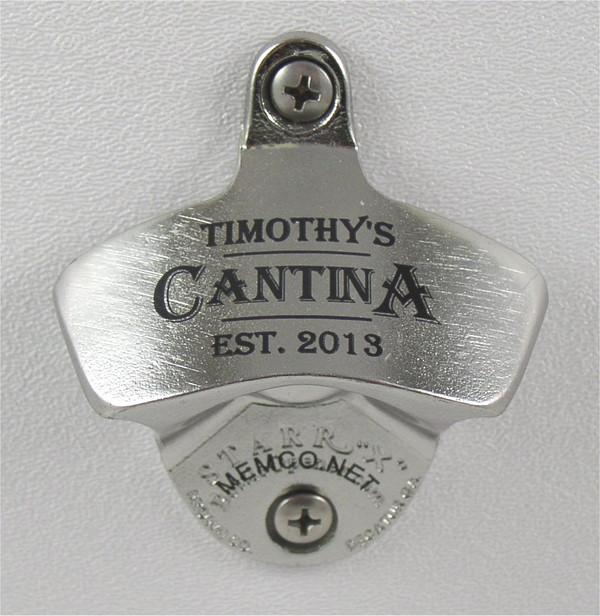 STAINLESS STEEL Engraved Beer Opener - Custom Engraved Black Wall Mount Bottle Opener - FREE Engraving