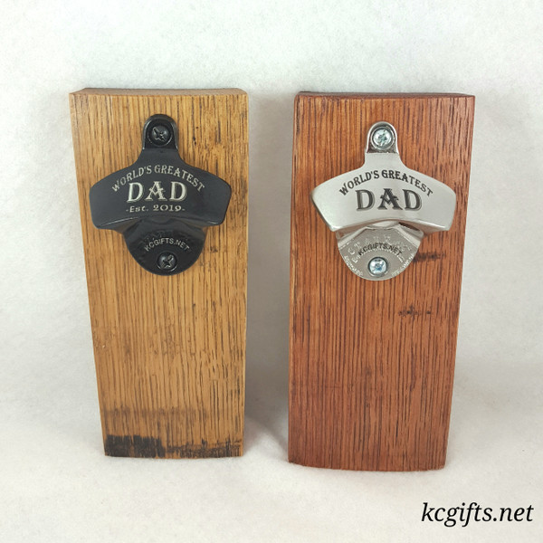Magnetic Engraved Bottle Opener made from WHISKEY BARREL STAVES - Stainless Steel or Black - Free Personalization!