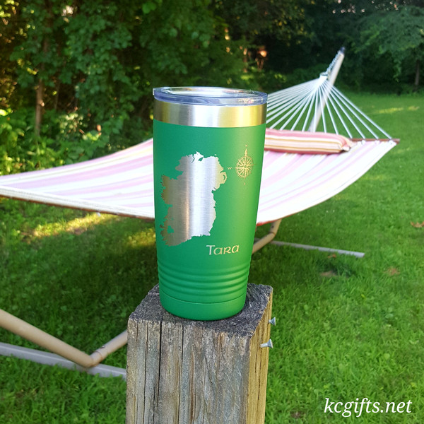Polar Camel Insulated Mug - Map of Ireland with your County Highlighted - Personalized with your name.