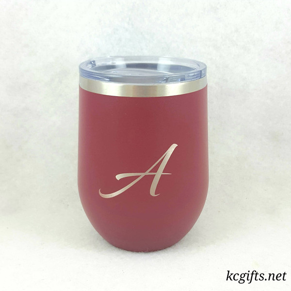 Polar Camel Insulated Wine Mug - Single Letter Script Design - Personalized Polar Camel YETI Clone