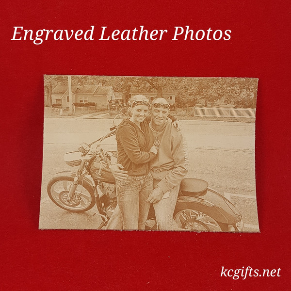 "Photograph Engraved in REAL LEATHER - 3rd Anniversary Gift - Wedding Photograph - Baby Photograph - Family Photograph - 8"" x 10"" UNFRAMED"