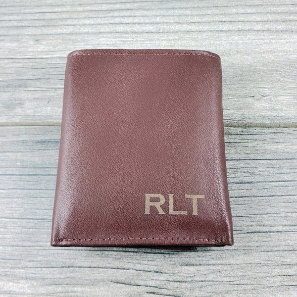 Wallet Brown Trifold - RFID Lining - Personalized Men's Leather Wallet with Engraved Monogram