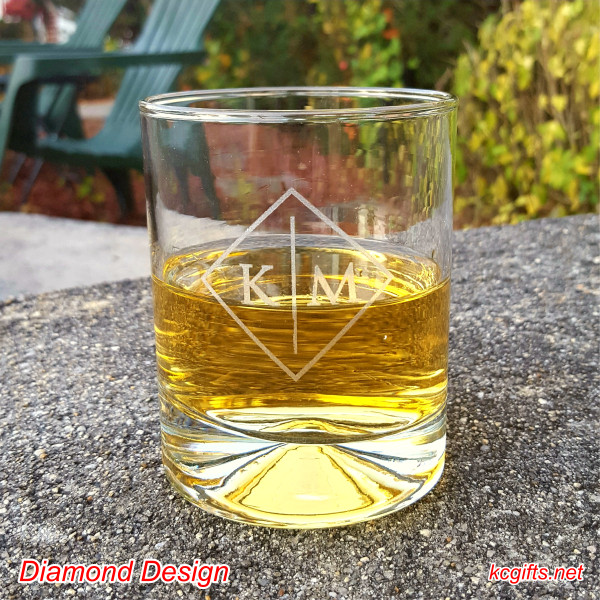 Diamond Design Engraved Rocks Glass with your monogram. Whiskey Glass - Scotch Glass - Cocktail Glass - SET OF TWO