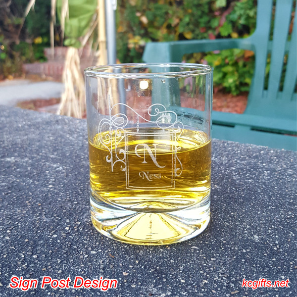 Sign Post Design Engraved Rocks Glass with your monogram. Whiskey Glass - Scotch Glass - Cocktail Glass - SET OF TWO
