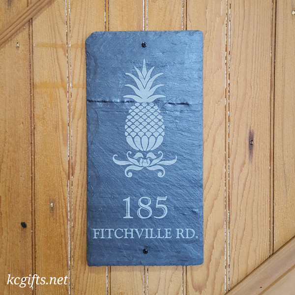 "Engraved Slate Sign - Pineapple House Sign - Family Name Sign - Wedding Gift, Housewarming Gift - Address Sign - Slate Sign - Engraved Stone - 8"" x 16"""