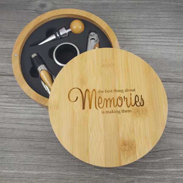 Bamboo Wine Set with all the tools  you need - Great Gift for the Wine Lover, Realtor Closing Gift or Housewarming Gift.