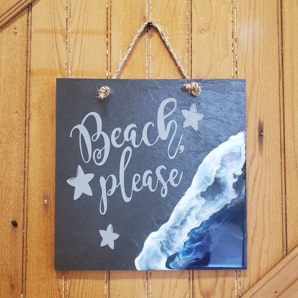 Engraved Slate and Resin Beach Sign - Multi Layer Ocean Design
