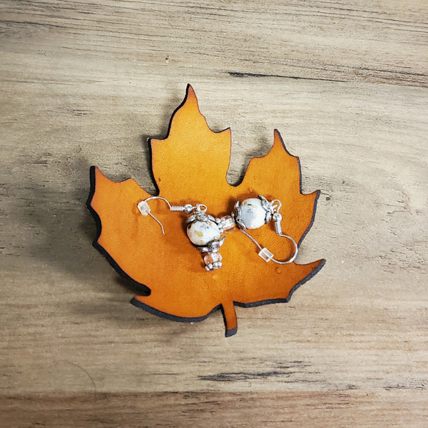 Leather Bowl - Hand crafted Maple Leaf - small size.