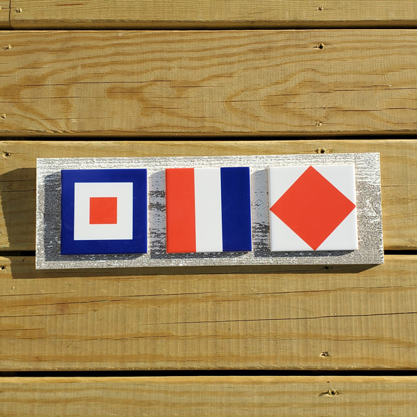 Nautical Flag WHISKEY TANGO FOXTROT (WTF) Sign - Tile and Wood