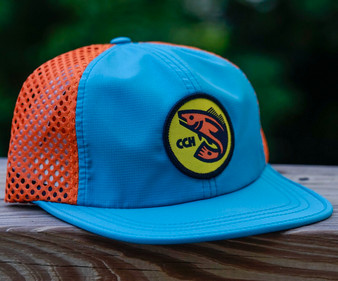 Crooked Creek Holler Classic Quick Dry Trucker Blue Orange Image 1