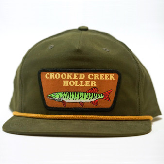 Crooked Creek Holler Musky 5 Panel Pinch Snapback Cap Olive Image 1
