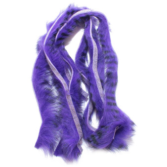 Hareline Black Barred Rabbit Strips Bright Purple Image 1