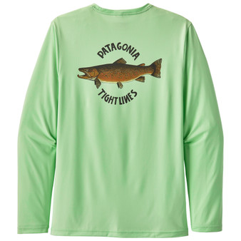 Patagonia Cap Cool Daily Fish Graphic LS Shirt Brown Trout Bud Green Image 1