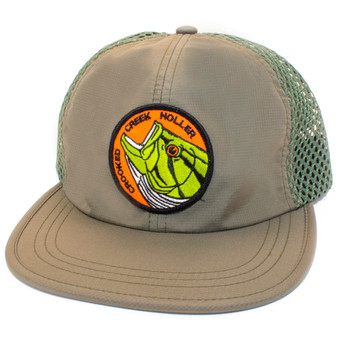 Crooked Creek Holler Rising Bass Quick Dry Trucker Olive Image 1