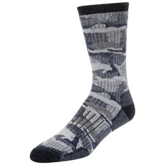 Simms Womens Merino Midweight Hiker Sock Hex Flo Camo Admiral Image 1