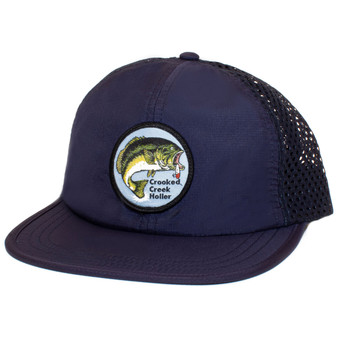 Crooked Creek Holler Hinkley Bass Quick Dry Trucker Navy Image 1