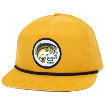 Crooked Creek Holler Hinkley Bass Pinch Front Hat Mustard Image 1