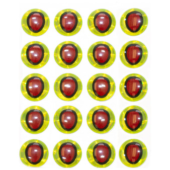 Hareline Oval Pupil 3d Eyes Chartreuse Red Pupil Image 1