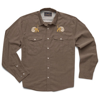 Howler Brothers Gaucho Snapshirt LS Shirt Brown Oxford Hermit Crabs Image 1