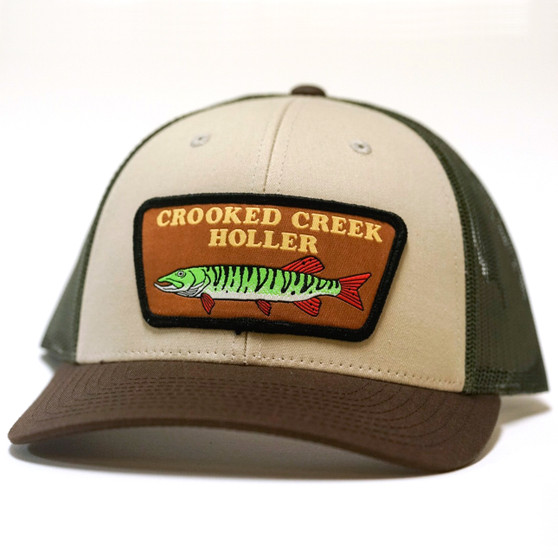 Crooked Creek Holler Musky Trucker Cap Cream Chocolate Olive Mesh Image 1