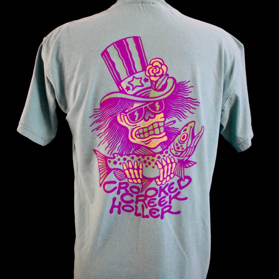 Crooked Creek Holler Psychedelic Sam SS T Shirt Seafoam Image 1