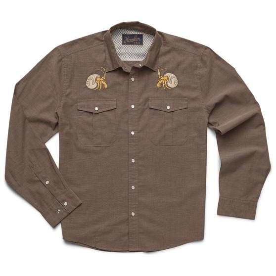 Howler Brothers Gaucho Snapshirt LS Shirt Brown Oxford Hermit Crabs Image 1