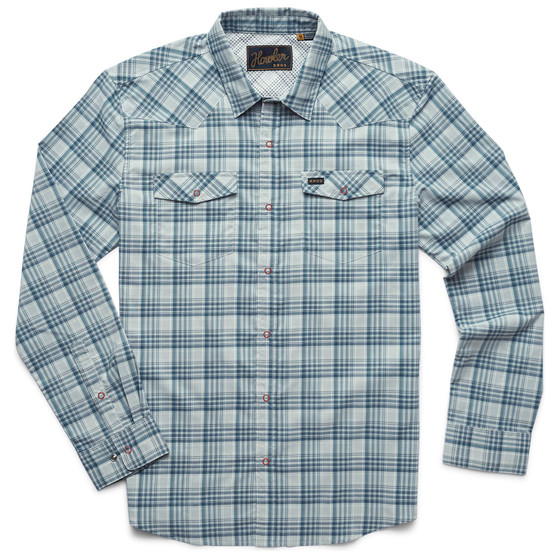 Howler Brothers H Bar B Tech LS Shirt Bolan Plaid Geologic Grey Image 1