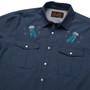 Howler Brothers Gaucho Snapshirt LS Shirt Deep Blue Microstripe Jellyfish Image 4