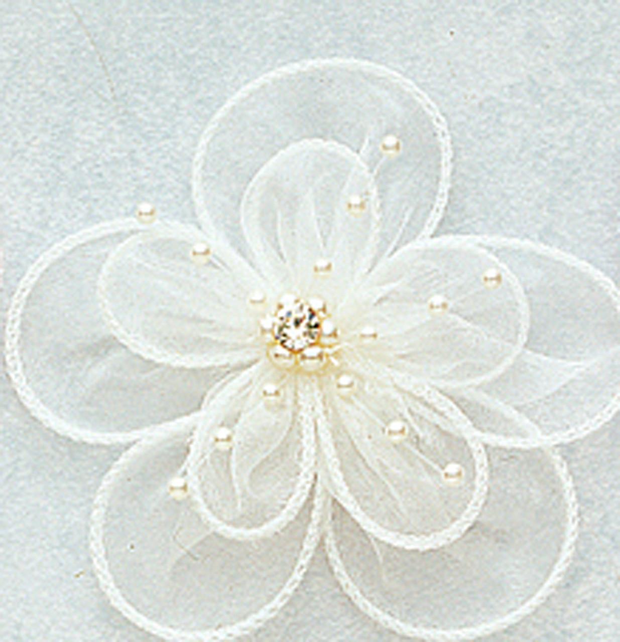 """3 pcs light blue 2.5/"""" tulle folded flowers w// rhinestones /& pearls// headband"""