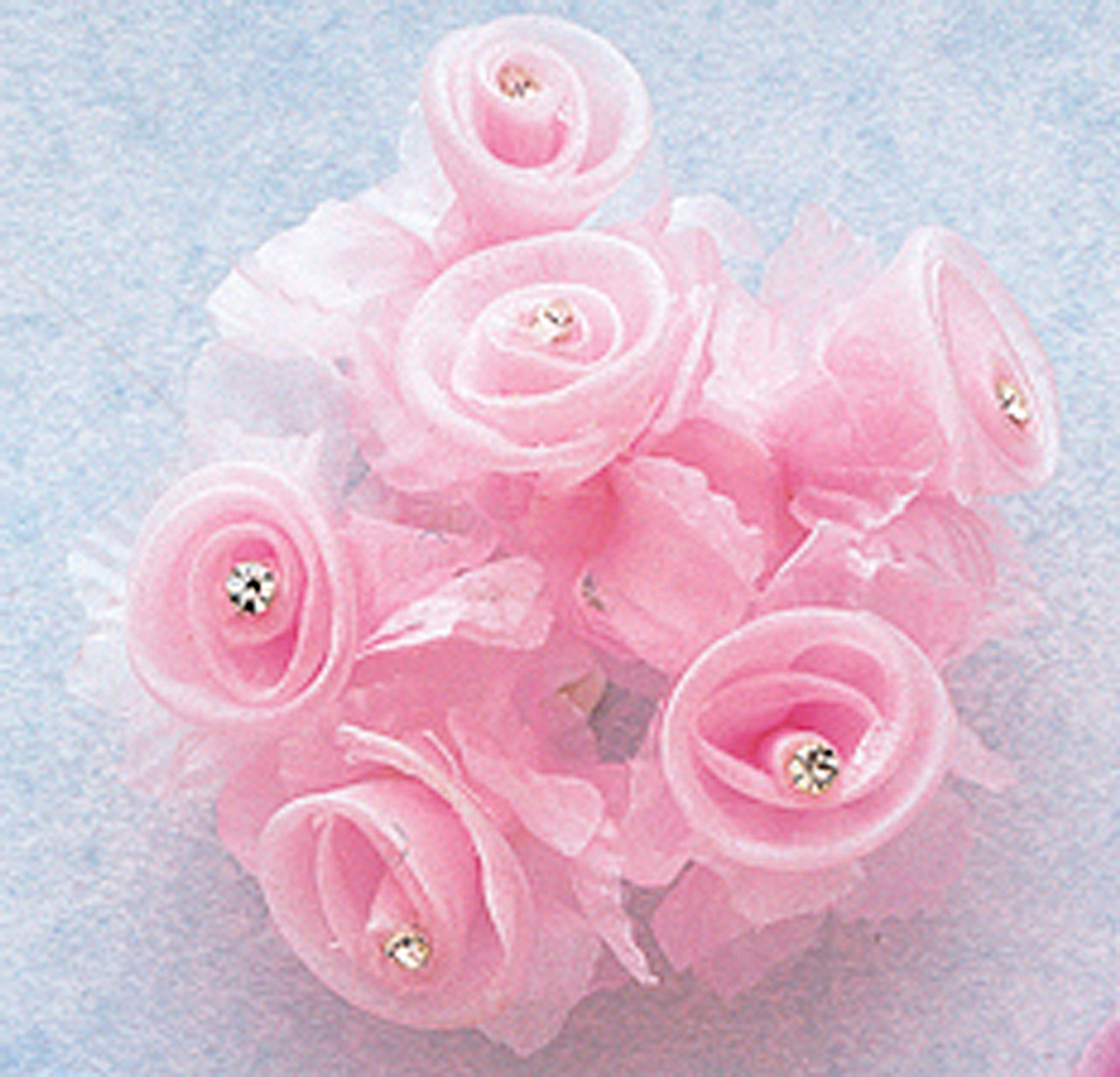 2.5 Pink wired organza flower with 6 pink rhinestones on each flower-very pretty and unique hairbows bouquets fabric art scrapbooking